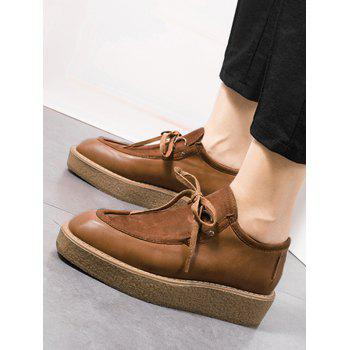 Faux Suede Insert Suqare Toe Platform Shoes - BROWN 38