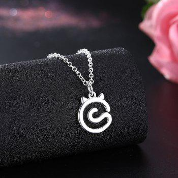 Simple Cat Alloy Charm Necklace - SILVER