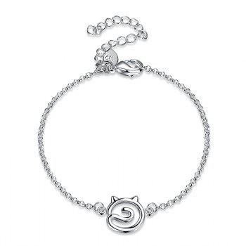 Simple Hollow Out Cat Alloy Bracelet - SILVER SILVER