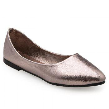 Slip On Pointed Toe PU Leather Flats