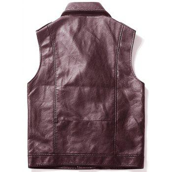 Epaulet Design Asymmetrical Zip Faux Leather Vest - Brun rouge L