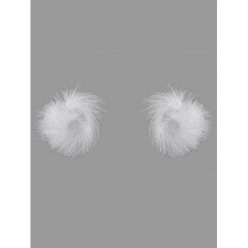 Faux Ostrich Feather Fur Nipple Covers - WHITE WHITE