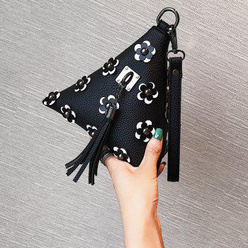 Triangle Shape Tassels Flowers Clutch Bag -  BLACK