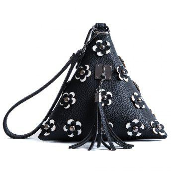 Triangle Shape Tassels Flowers Clutch Bag - BLACK BLACK