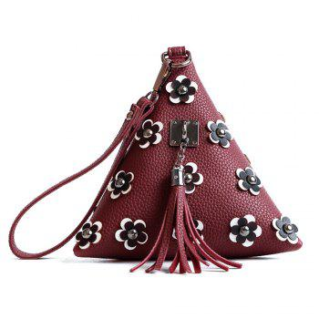 Triangle Shape Tassels Flowers Clutch Bag - WINE RED WINE RED