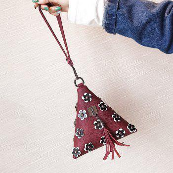 Triangle Shape Tassels Flowers Clutch Bag -  WINE RED
