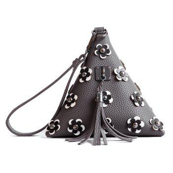 Triangle Shape Tassels Flowers Clutch Bag - GRAY GRAY
