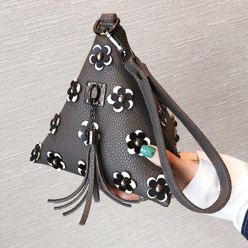 Triangle Shape Tassels Flowers Clutch Bag - GRAY