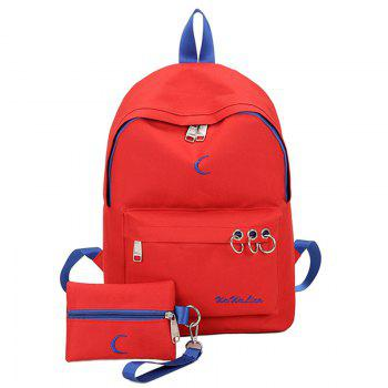 Color Block Embroidery 2 Pieces Backpack Set - RED RED