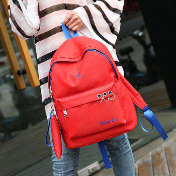 Color Block Embroidery 2 Pieces Backpack Set -  RED