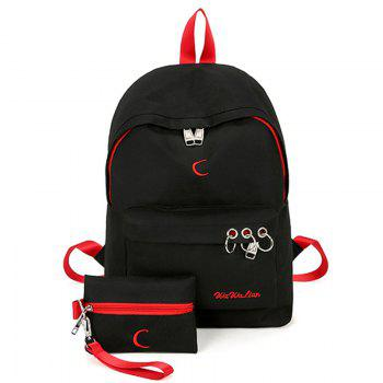 Color Block Embroidery 2 Pieces Backpack Set - BLACK BLACK