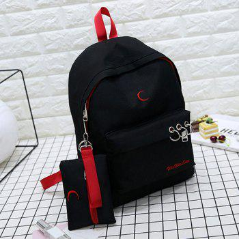 Color Block Embroidery 2 Pieces Backpack Set -  BLACK