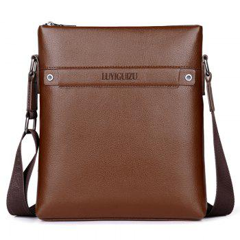 Faux Leather Zipper Messenger Bag - LIGHT BROWN