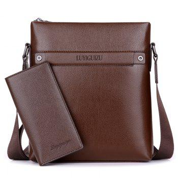 Faux Leather Zipper Messenger Bag