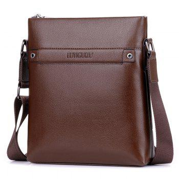 Faux Leather Zipper Messenger Bag - BROWN