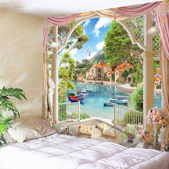 Waterproof Lakeside Scenic Pattern Wall Hanging Tapestry - COLORMIX COLORMIX