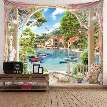 Waterproof Lakeside Scenic Pattern Wall Hanging Tapestry - COLORMIX W79 INCH * L71 INCH