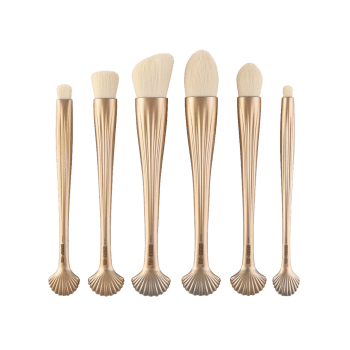 6Pcs Shell Design Plating Multipurpose Makeup Brushes Set -  VENETIAN GOLD