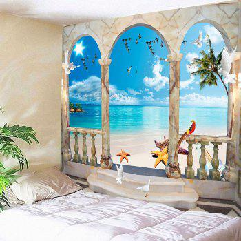 Window Flying Birds Seaside Printed Waterproof Wall Tapestry - BLUE BLUE