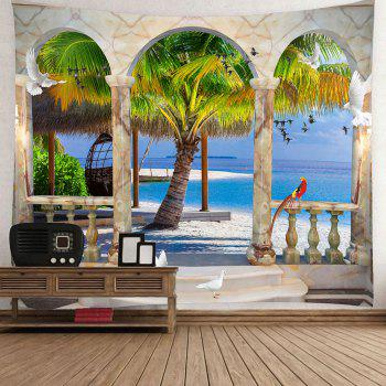 Window Birds Coconut Tree Seaside Wall Waterproof Tapestry - BLUE W79 INCH * L71 INCH