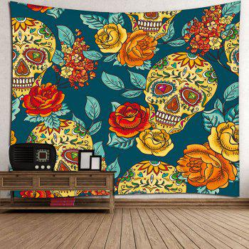 Waterproof Diamond Eyes Skull Floral Printed Wall Tapestry - COLORFUL COLORFUL