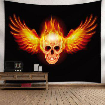 Waterproof Fire Skull Wing Pattern Wall Hanging Tapestry - YELLOW/BLACK W71 INCH * L71 INCH