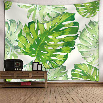 Natural Palm Leaves Wall Art Tapestry - WHITE/GREEN WHITE/GREEN