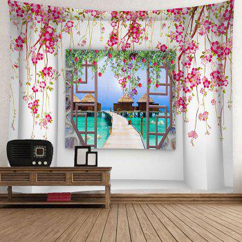 Flower Branches Around Window Printed Wall Art Tapestry - LIGHT PINK W71 INCH * L71 INCH
