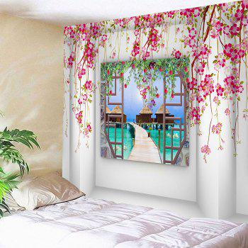 Flower Branches Around Window Printed Wall Art Tapestry - LIGHT PINK W79 INCH * L71 INCH