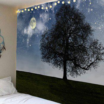 Big Tree Under Starry Sky Printed Wall Art Hanging Tapestry - GRAY GRAY