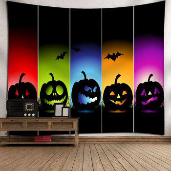 Waterproof Halloween Colorful Pumpkins Bats Printed Tapestry - COLORFUL W79 INCH * L71 INCH