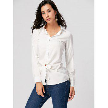Tie Up Long Sleeve Shirt - WHITE XL