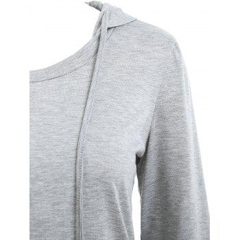 Drawstring Kangaroo Pocket Tunic Hoodie - GRAY XL
