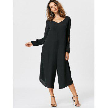 Split Sleeve Capri Wide Leg Jumpsuit - BLACK BLACK