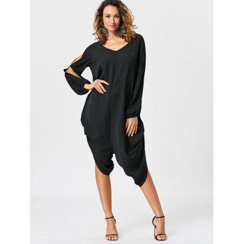 Split Sleeve Capri Wide Leg Jumpsuit - XL XL