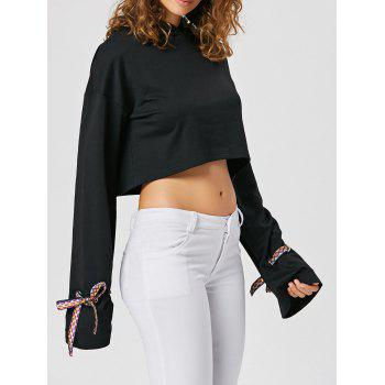 Bowknot Cropped Pullover Hoodie - BLACK L