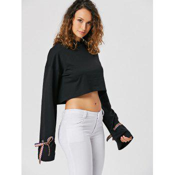 Bowknot Cropped Pullover Hoodie - L L