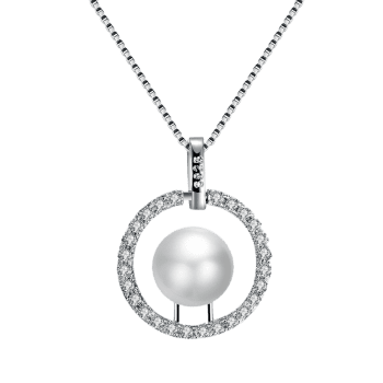 Rhinestone Faux Pearl Circle Charm Necklace - Argent