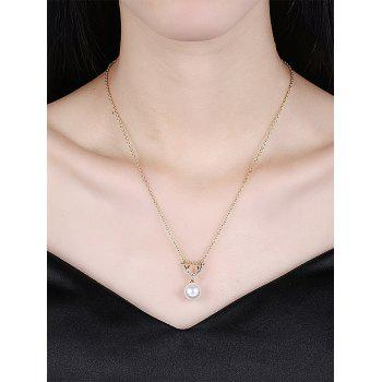 Faux Pearl Deer Horn Charm Collier - Or