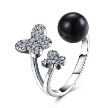 Rhinestone Butterfly Ball Cuff Ring - BLACK BLACK