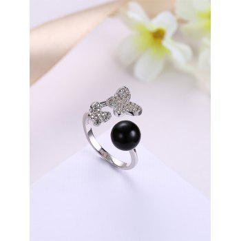 Rhinestone Butterfly Ball Cuff Ring -  BLACK