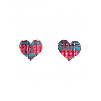 Plaid Heart Adhesive Nipple Sticker