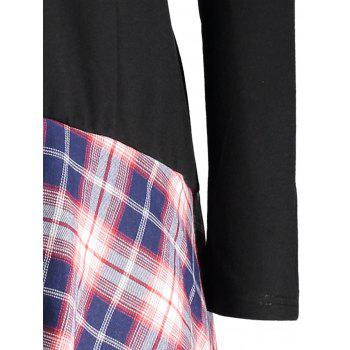 Lace Plaid Panel Plus Size Long Top - BLACK 2XL