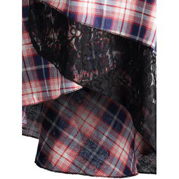 Lace Plaid Panel Plus Size Long Top - BLACK 5XL