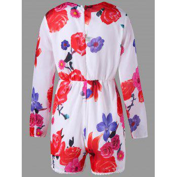 Long Sleeve Floral Print Lace Trim Romper - COLORMIX COLORMIX