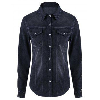 Long Sleeve Shirt Collar Denim Top - BLACK BLUE BLACK BLUE