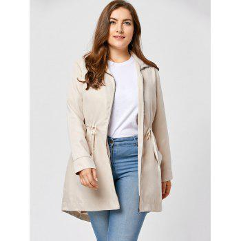 Plus Size Zip Up High Low Coat - APRICOT APRICOT