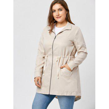 Plus Size Zip Up High Low Coat - APRICOT 4XL