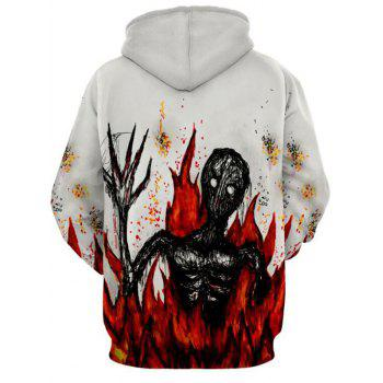 Flame Devil Print Drawstring Halloween Hoodie - WHITE M