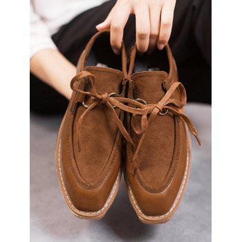 Faux Suede Insert Suqare Toe Platform Shoes - BROWN BROWN